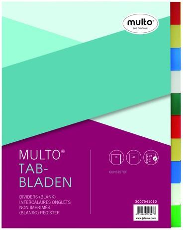 Tabbladen Multo A4 23-gaats 10-delig PP assorti
