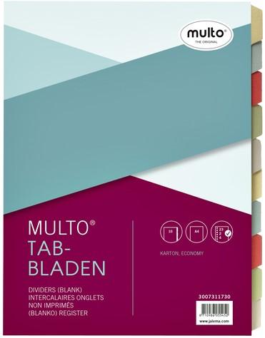 Tabbladen Multo A4 23R 10-delig karton assorti