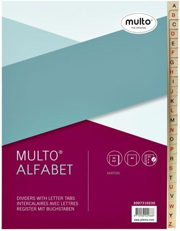 Tabbladen Multo A4 23-rings 24-delig A-Z karton chamois