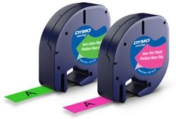 Dymo 12mm x 4m Letratag 1956290 plastic, Blister á 2 stuks : Neon roze & Neon groen.