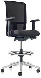 Counter/balie bureaustoel Se7en 3462CW, voorzien van wielen en voetenring, zithoogte 59-77cm