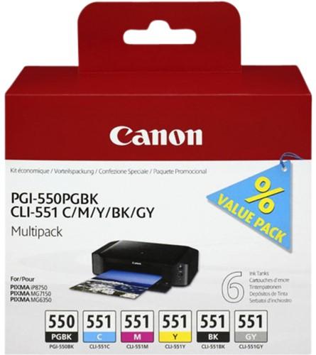 Inktcartridge Canon PGI-550 + CLI-551 zwart + 4 kleuren