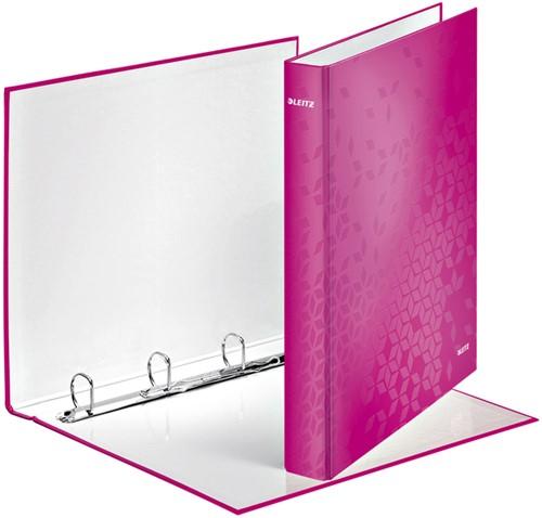 Ringband Leitz WOW A4 4-rings D-mech 25mm karton roze