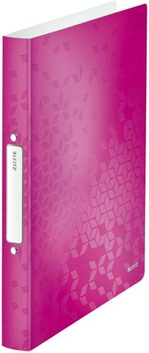 Ringband Leitz WOW A4 2-rings O-mech 25mm PP roze