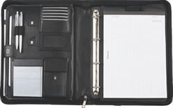Schrijfmap Alassio Trento kunstleer nylon A4 zwart