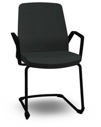 Bezoekersstoel Interstuhl Buddy 550B zwart frame en Era zwart bekleding