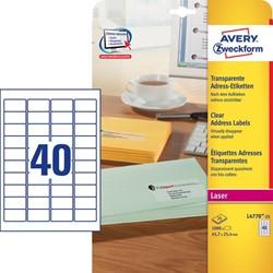Adresetiketten 45,7 x 25,4 mm, transparant, Laserprinter, permanent klevend