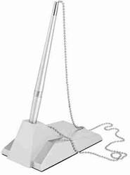 baliepen Alco rechthoekige standaard zilverkleurige balpen