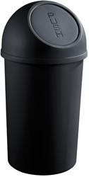 Afvalbak klapdeksel, 25l zwart