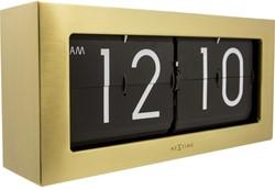 Tafelklok NeXtime 36 x 16.5 cm, metaal, goud, 'Big flip'