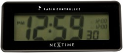Alarmklok NeXtime 14 x 6 cm, plastic, mat zwart, 'Lean Alarm' Radio Controlled