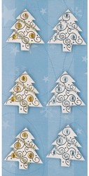 Kerststicker Sigel shiny trees 69x140mm 6 stuks