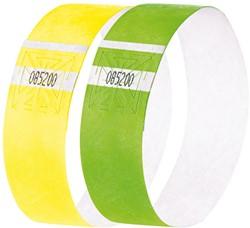 evenementenbandjes Sigel super soft 255x25mm 2 kleuren assorti geel&groen 120 st