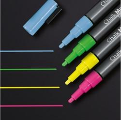 krijtmarker Sigel 1-2mm afwasbaar roze/groen/geel/blauw