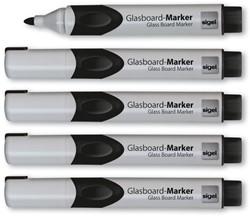 glasboardmarker Sigel 2-3mm ronde punt 5 stuks in etui zwart