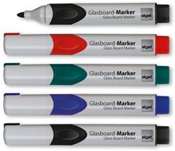 glasboardmarker Sigel 2-3mm ronde punt 5 stuks in etui assorti
