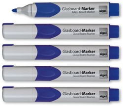 glasboardmarker Sigel 2-3mm ronde punt 5 stuks in etui blauw