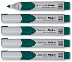 glasboardmarker Sigel 2-3mm ronde punt 5 stuks in etui groen