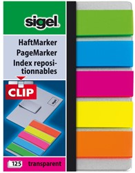 indexeringsstrookjes Sigel film mini met clip 5 kleuren assorti