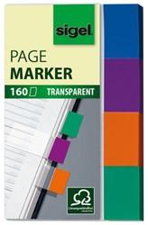 indexeringsstrookjes Sigel 80x50mm transparant mint/oranje/violet/turquoise