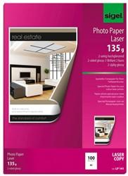 fotopapier Sigel kleurenlaser A4 hoogwit glans 135g 100 vel