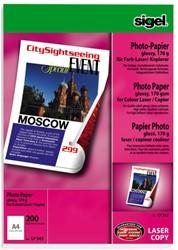 fotopapier Sigel kleurenlaser A4 hoogwit glans 170gr 200vel