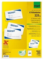visitekaartjes 3C 225g wit 400 stuks met afgeronde hoeken