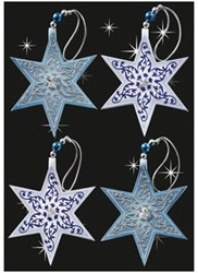 kersthanger 60x62x5mm Stars met 3D applicatie 4 st.