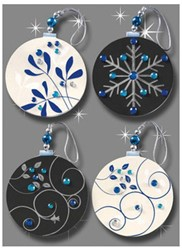 kersthanger 50x52x5mm Baubles met 3D applicatie 4 st.
