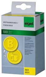 waardemunten Sigel kunststof 100 stuks 25mm bier geel