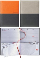 Agenda 2019 Lediberg Twin Timer medium oranje/zwart of zilvergrijs/zwart