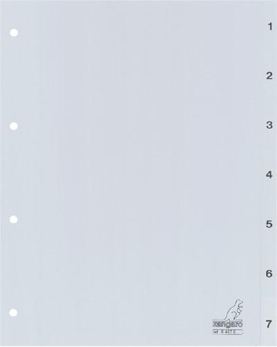 Tabbladen Kangaro 4-gaats G407C 1-7 genummerd grijs PP