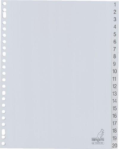Tabbladen Kangaro 23-gaats G420CM 1-20 genummerd grijs PP
