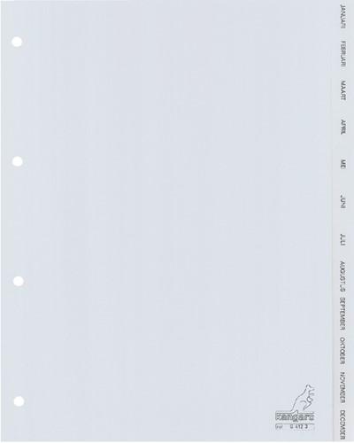 Tabbladen Kangaro 4-gaats G412J 12-delig maanden grijs PP