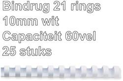 Bindrug GBC 10mm 21rings A4 wit 25stuks