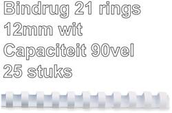 Bindrug GBC 12mm 21rings A4 wit 25stuks