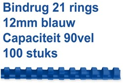 Bindrug Fellowes 12mm 21rings A4 blauw 100stuks