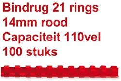 Bindrug GBC 14mm 21rings A4 rood 100stuks