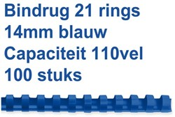 Bindrug Fellowes 14mm 21rings A4 blauw 100stuks
