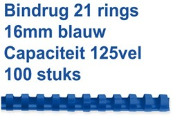 Bindrug GBC 16mm 21rings A4 blauw 100stuks