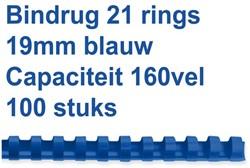 Bindrug GBC 19mm 21rings A4 blauw 100stuks