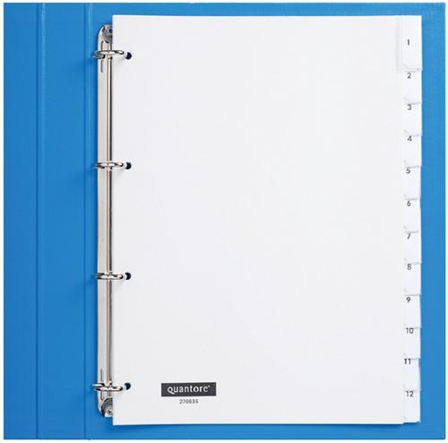 Tabbladen Quantore 4-gaats 12-delig met venster wit PP