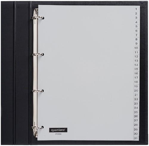 Tabbladen Quantore 4-gaats 1-31 genummerd grijs PP