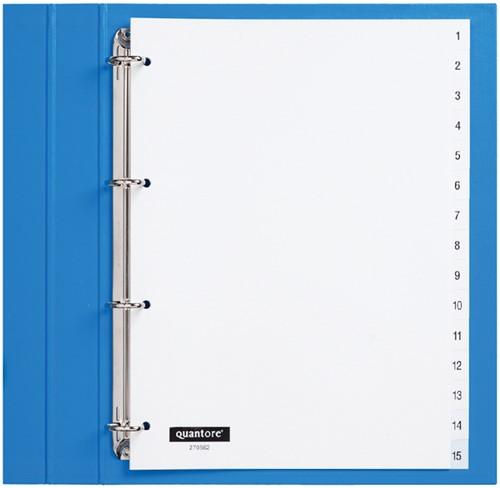 Tabbladen Quantore 4-gaats 1-15 genummerd wit PP