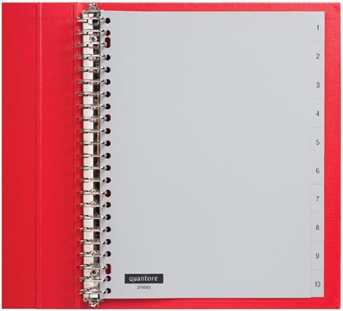 Tabbladen Quantore 23-gaats 1-10 genummerd grijs PP
