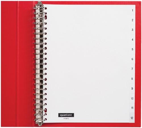 Tabbladen Quantore 23-gaats 1-12 genummerd wit PP