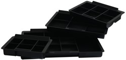 Inzetbak voor geldkist 44 8-vaks plastic zwart