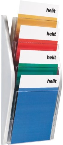 Folderhouder Helit wand 4xA4 zilver