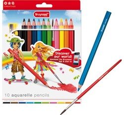 Kleurpotloden Bruynzeel 3550 Young aquarel 10stuks assorti