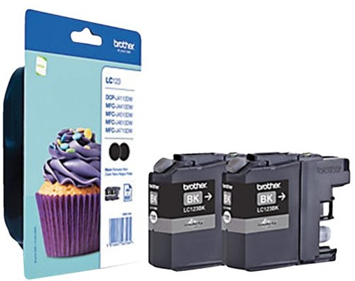 Inktcartridge Brother LC-123BKBP2 zwart 2x